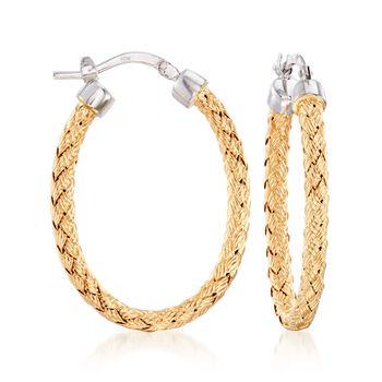 """Charles Garnier """"Milan"""" Two-Tone Sterling Silver Oval Hoop Earrings. 1 1/4"""", , default"""