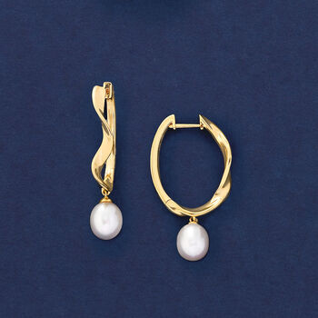 "Cultured Pearl and Wavy Hoop Earrings in 18kt Gold Over Sterling. 1 3/8"", , default"