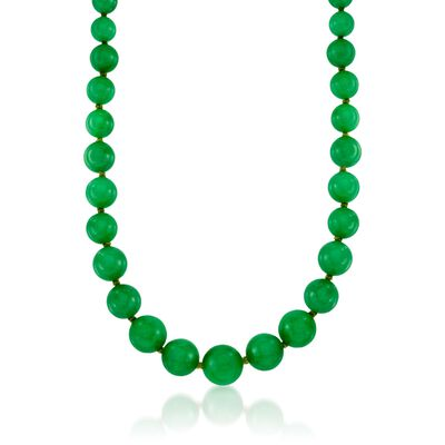 7-14mm Jade Bead Necklace with 14kt Yellow Gold, , default