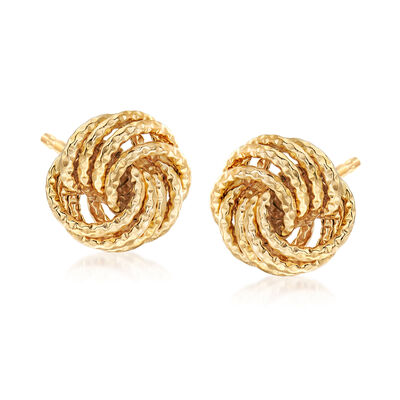 Italian Love Knot Earrings in 18kt Yellow Gold, , default