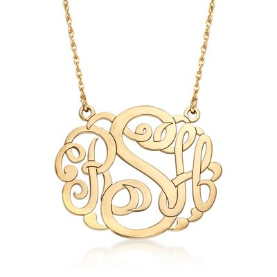 14kt Yellow Gold Large Monogram Pendant Necklace, , default