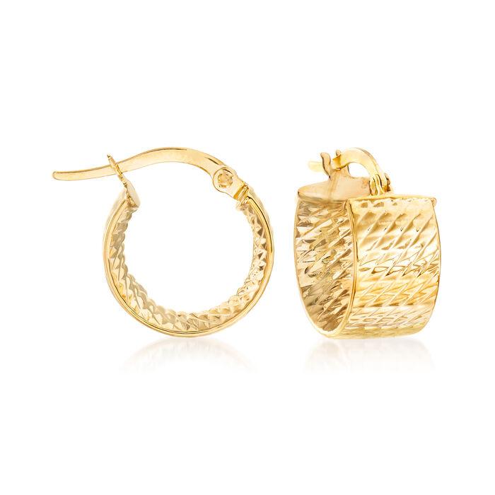 """Italian 14kt Yellow Gold Textured Huggie Hoop Earrings. 1/2"""", , default"""