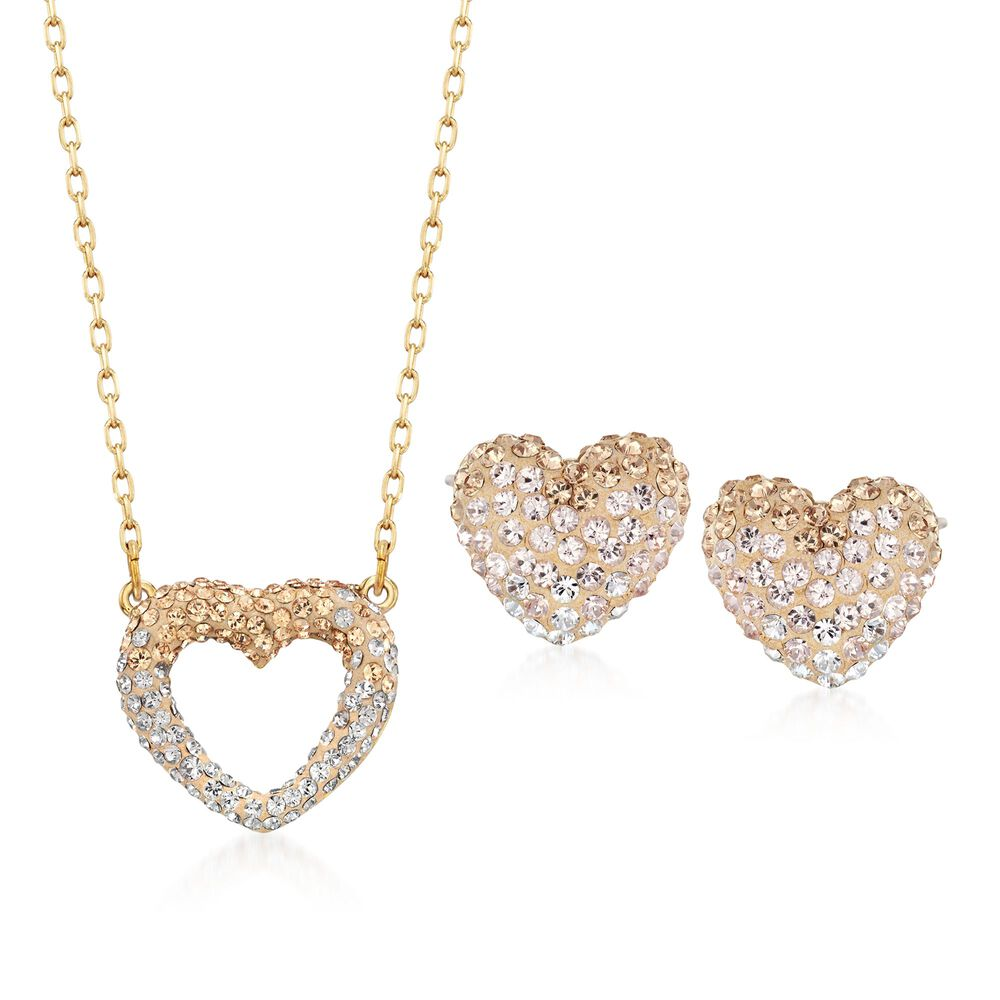 "52ce4159c Swarovski Crystal ""Enjoy Pointillage"" Golden and Clear Crystal  Heart Jewelry Set: Earrings"