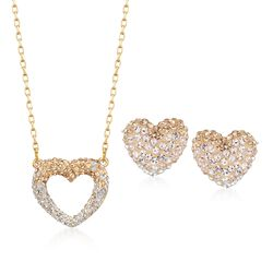 "Swarovski Crystal ""Enjoy Pointillage"" Golden and Clear Crystal Heart Jewelry Set: Earrings and Necklace in Gold Plate, , default"