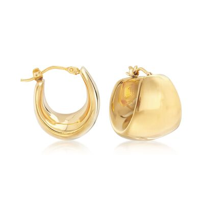Italian Andiamo 14kt Yellow Gold Wide Hoop Earrings, , default