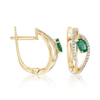""".50 ct. t.w. Emerald and .15 ct. t.w. Diamond Hoop Earrings in 14kt Yellow Gold. 1/2"""", , default"""