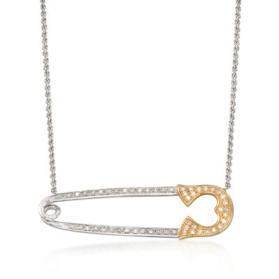 .15 ct. t.w. Diamond Safety Pin Necklace in Sterling Silver and 14kt Yellow Gold, , default