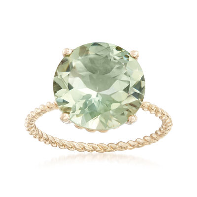 4.50 Carat Green Prasiolite Twist Rope Ring in 14kt Yellow Gold
