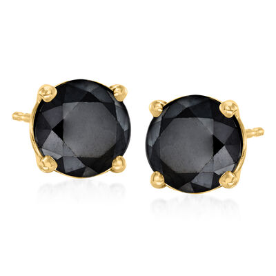 3.00 ct. t.w. Black Diamond Stud Earrings in 14kt Yellow Gold