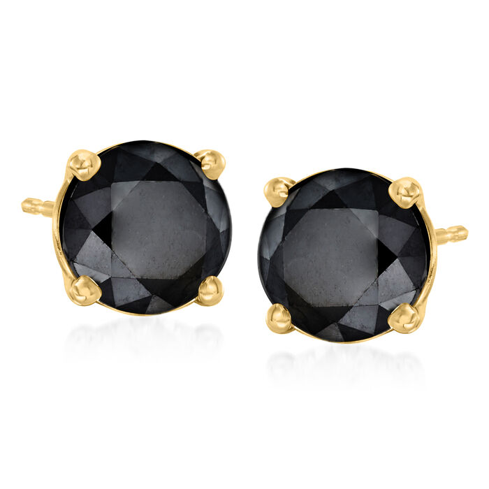 3.00 ct. t.w. Black Diamond Stud Earrings in 14kt Yellow Gold