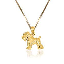 "14kt Yellow Gold Schnauzer Dog Pendant Necklace. 18"", , default"