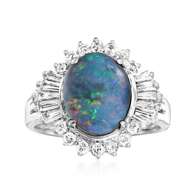 C. 1980 Vintage Black Opal and .75 ct. t.w. Diamond Ring in 18kt White Gold