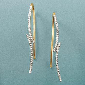 .10 ct. t.w. Diamond Curve Earrings in 14kt Yellow Gold, , default