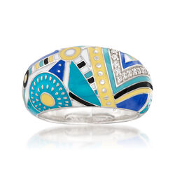 """Belle Etoile """"Constellations: Nairobi"""" Turquoise-Blue Enamel Ring With .15 ct. t.w. CZs in Sterling, , default"""