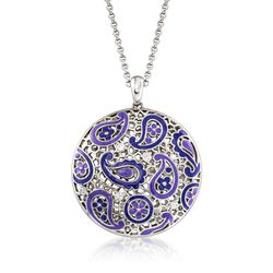 "Belle Etoile ""Koyari"" Purple Enamel and .50 ct. t.w. CZ Pendant in Sterling Silver, , default"