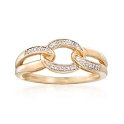 14kt Yellow Gold Link Ring With Diamond Accents, , default