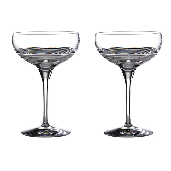 """Waterford Crystal """"Mixology Circon"""" Set of 2 Large Coupe Glasses"""