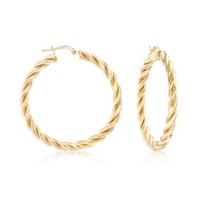 Italian 18kt Gold Over Sterling Medium Twisted Hoop Earrings, , default