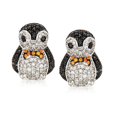 .80 ct. t.w. Black and White CZ Penguin Earrings in Sterling Silver
