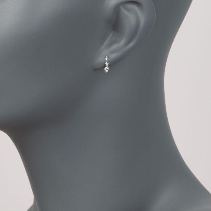 .25 ct. t.w. Graduated Diamond Drop Earrings in 14kt White Gold