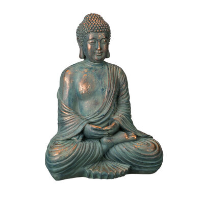 "Copper Patina ""Buddha"" Decorative Garden Statue"