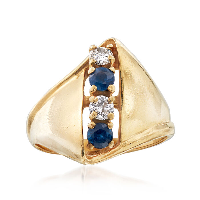C. 1970 Vintage .40 ct. t.w. Sapphire and .25 ct. t.w. Diamond Ring in 14kt Yellow Gold. Size 7, , default