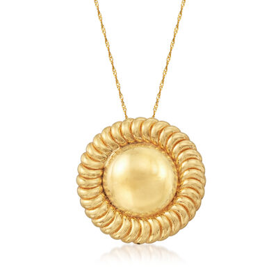 Italian 14kt Yellow Gold Sun Pendant Necklace, , default
