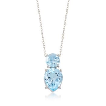 """3.70 ct. t.w. Blue Topaz Pendant Necklace in Sterling Silver. 18"""", , default"""