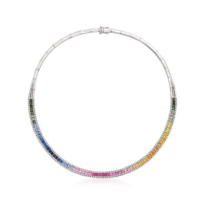 C. 1990 Vintage 11.15 ct. t.w. Multicolored Sapphire and 1.65 ct. t.w. Diamond Necklace in 14kt White Gold