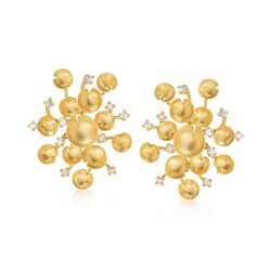 Italian .60 ct. t.w. Diamond Multi-Circle Cluster Earrings in 14kt Yellow Gold, , default
