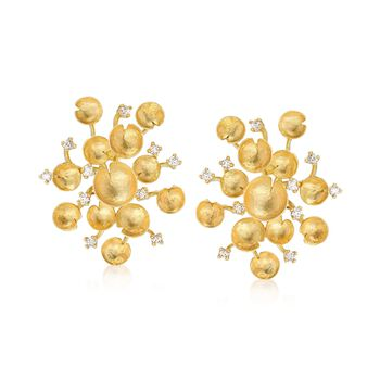 Italian .60 ct. t.w. Diamond Multi-Circle Cluster Earrings in 14kt Yellow Gold , , default
