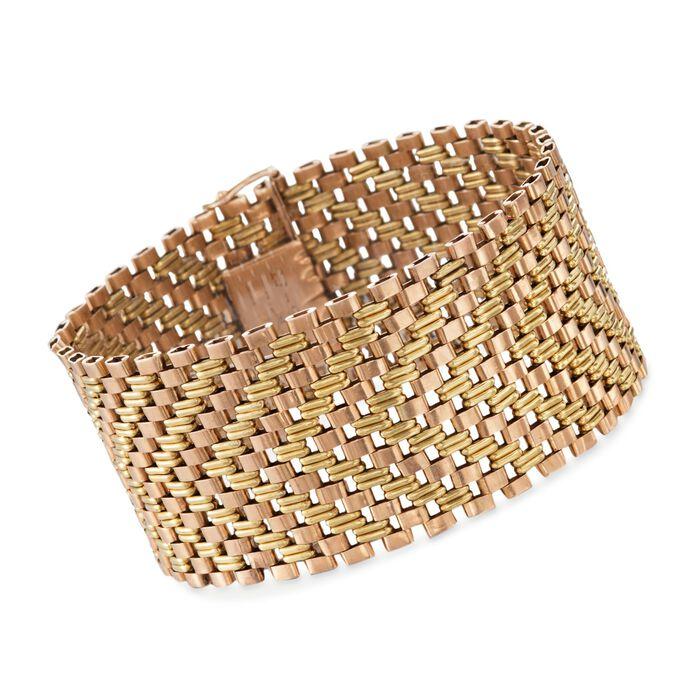 """C. 1950 Vintage 18kt Two-Tone Gold Wide Link Bracelet. 7.5"""", , default"""