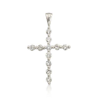 .66 ct. t.w. Diamond Cross Pendant in 14kt White Gold, , default