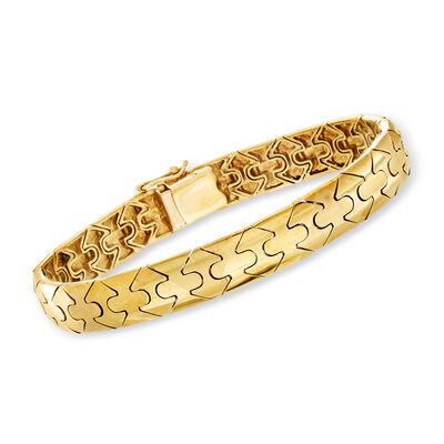 C. 1990 Vintage 14kt Yellow Gold Triangle-Design Bangle Bracelet, , default