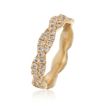 Henri Daussi .70 ct. t.w. Diamond Twisted Eternity Band in 18kt Yellow Gold. Size 6, , default