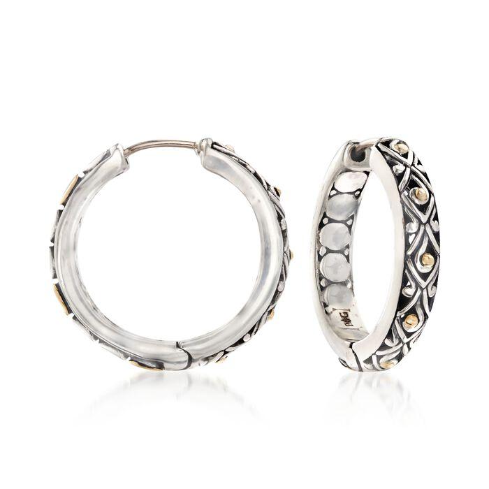 "Phillip Gavriel ""Dragonfly"" Sterling Silver and 18kt Gold Hoop Earrings. 7/8"", , default"