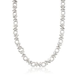 Sterling Silver Textured and Polished XO Necklace, , default