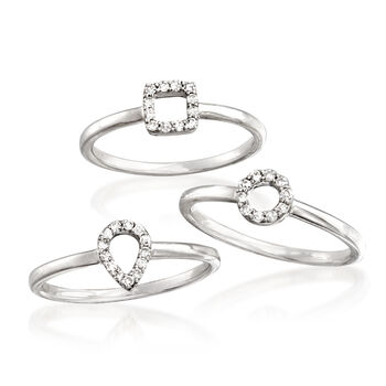 .26 ct. t.w. Diamond Jewelry Set: Three Rings in Sterling Silver