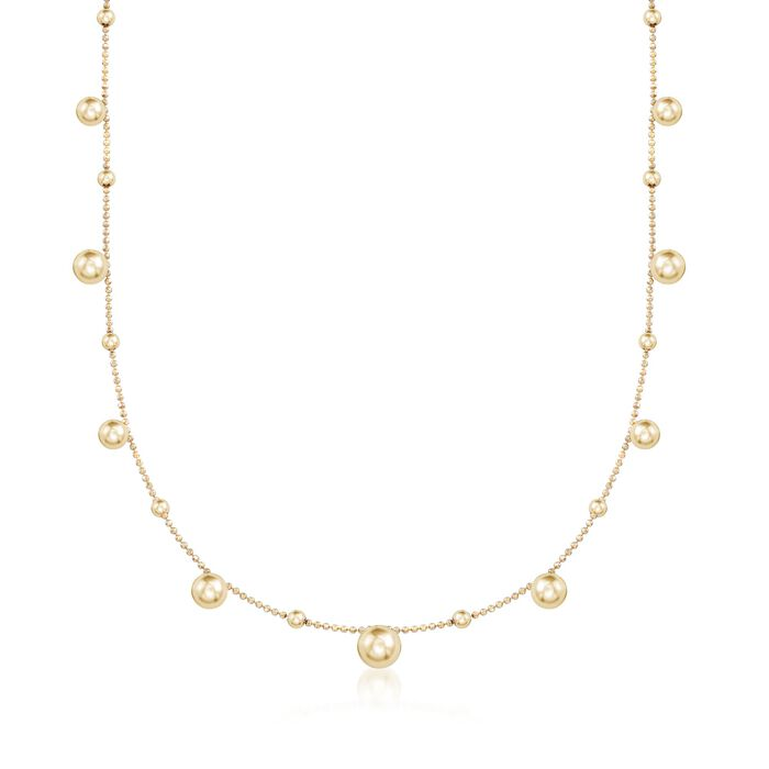 Italian 18kt Yellow Gold Over Sterling Silver Multi-Bead Station Necklace, , default