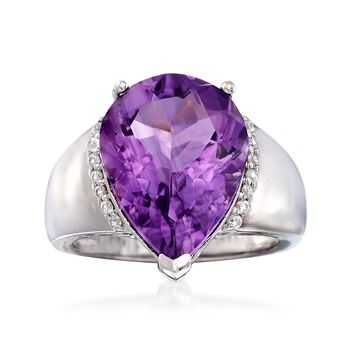6.50 Carat Pear-Shaped Amethyst and .10 ct. t.w. White Zircon Ring in Sterling Silver, , default