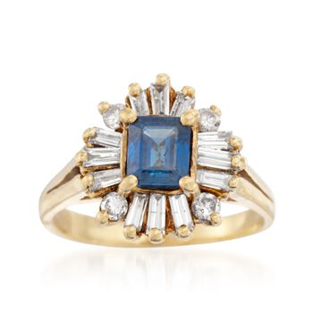 C. 1970 Vintage .85 Carat Sapphire and .80 ct. t.w. Diamond Ring in 18kt Yellow Gold. Size 6.25, , default