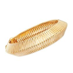 Italian 18kt Gold Over Sterling Wide Cubetto Omega Bracelet, , default