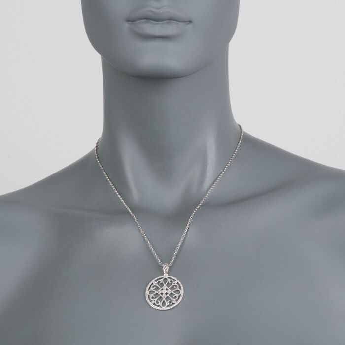 """.10 ct. t.w. Diamond Filigree Circle Pendant Necklace in Sterling Silver. 18"""", , default"""