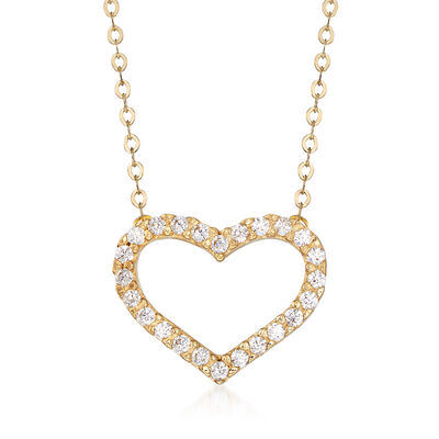 Italian .20 ct. t.w. CZ Open-Space Heart Necklace in 14kt Yellow Gold, , default
