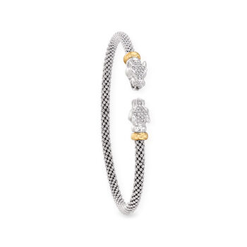 "Phillip Gavriel ""Popcorn"" .15 ct. t.w. Diamond Panther Cuff Bracelet in Sterling Silver and 18kt Yellow Gold. 7"", , default"