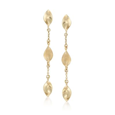 Italian 14kt Yellow Gold Three-Bead Drop Earrings, , default