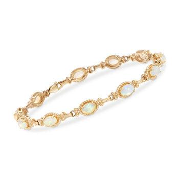 """6x4mm Opal Bracelet in 14kt Yellow Gold. 7"""", , default"""