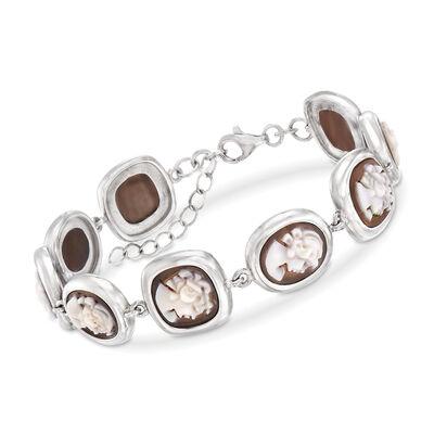 Italian Shell Cameo Bracelet in Sterling Silver, , default