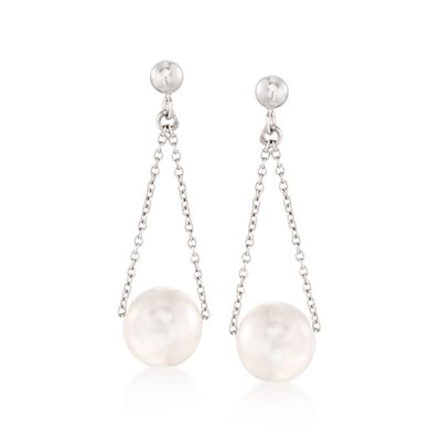 9.5-10mm Cultured Pearl Chain Drop Earrings in Sterling Silver, , default