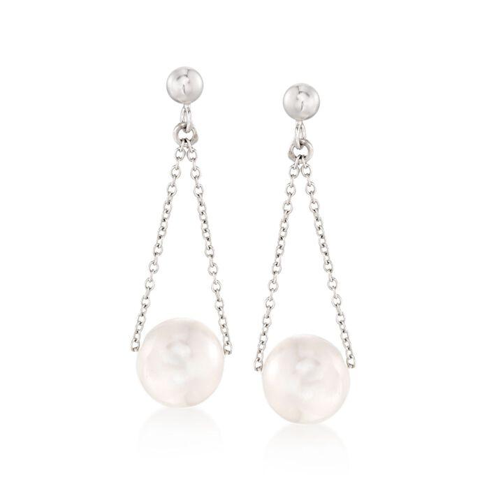 9.5-10mm Cultured Pearl Chain Drop Earrings in Sterling Silver, , default